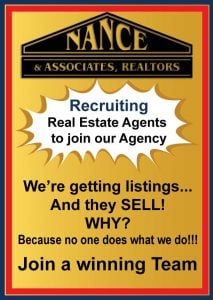 Nance realtors is recruiting real estate agents for our real estate agency