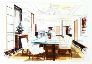 Sketch of contemporary dining room