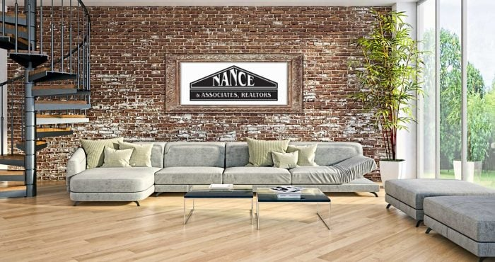 Modern luxury living room with brick wall
